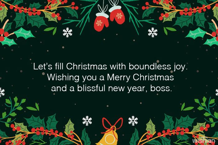 Merry Christmas and Happy New Year Wishes for Boss