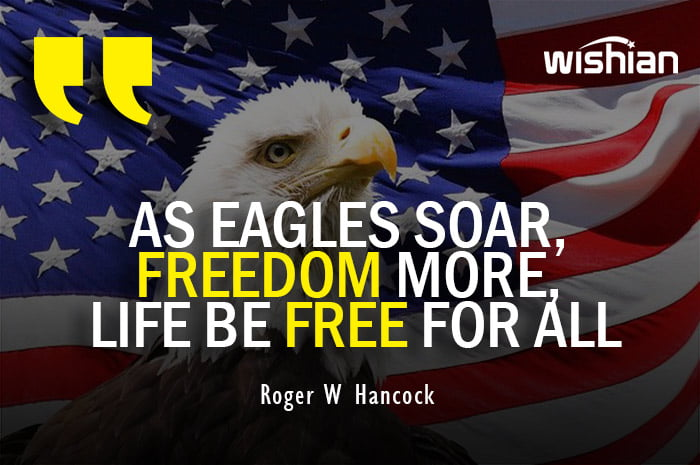 Happy Independence Day Quotes with American Eagle and flag image