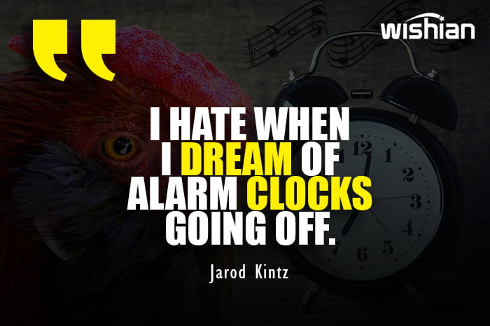 Funny Good Morning Quotes with images of Alarm Clock and Cock