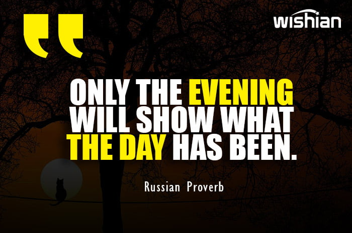 Russian Proverb about Evening quote with beautiful Image