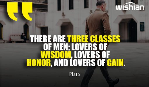 Three Classes of men Quotes by Plato about wisdom honor and gain